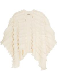 Poncho de lana en beige