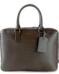 Portafolio de cuero en marrón oscuro de Giorgio Armani