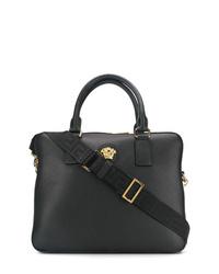 Portafolio de cuero negro de Versace