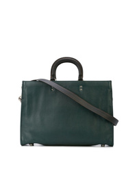 Portafolio de cuero verde oscuro de Coach