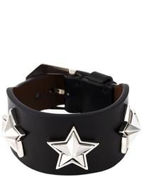 Pulsera de cuero con tachuelas negra de Givenchy
