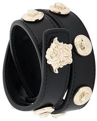 Pulsera de Cuero con Tachuelas Negra de Versace
