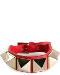 Pulsera de cuero con tachuelas roja de Valentino Garavani