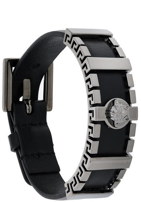 be1352eb788f ... Pulsera de cuero negra de Versace