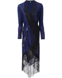 Quimono con print de flores azul marino de Jean Paul Gaultier