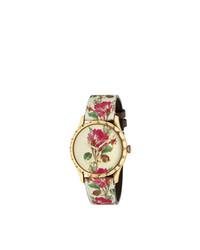 Reloj con print de flores marrón claro de Gucci
