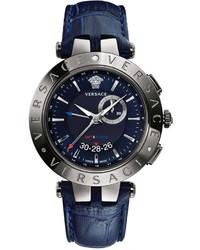 Reloj de Cuero Azul Marino de Versace