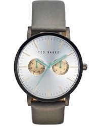 Reloj de cuero gris