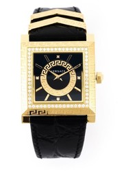 Reloj de cuero negro de Versace