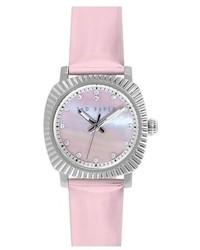 Reloj de cuero rosado