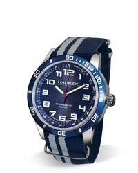 Reloj de lona en azul marino y blanco