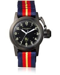 Reloj de rayas horizontales en rojo y azul marino