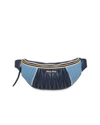 Riñonera de cuero azul marino de Miu Miu