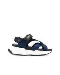 Sandalias con cuña azul marino de MM6 MAISON MARGIELA