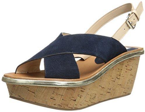 Sandalias con cuña de ante azul marino de Diane von Furstenberg