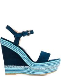 Sandalias con cuña de ante azul marino de Stuart Weitzman