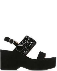 Sandalias con cuña de ante con adornos negras de Marc Jacobs