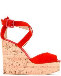 Sandalias con Cuña de Ante Rojas de Giuseppe Zanotti Design