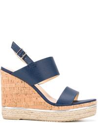Sandalias con Cuña de Cuero Azules de Hogan