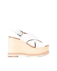 Sandalias con cuña de cuero blancas de Flamingos