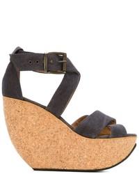 Sandalias con cuña de cuero grises de Mini Market