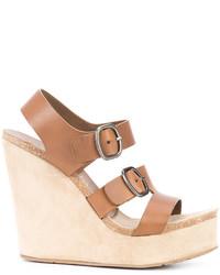 Sandalias con cuña de cuero marrón claro de Pedro Garcia
