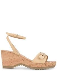 Sandalias con cuña de cuero marrón claro de Stella McCartney
