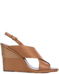 Sandalias con cuña de cuero marrón claro de Tory Burch
