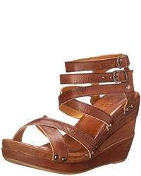 Sandalias con cuña de cuero marrónes de Bed Stu
