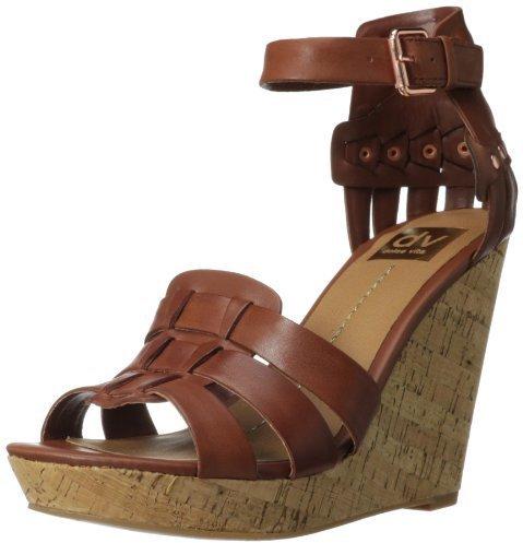 Sandalias con cuña de cuero marrónes de DV by Dolce Vita
