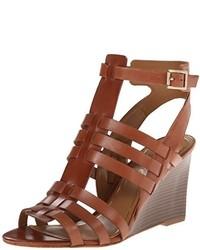 Sandalias con cuña de cuero marrónes de Enzo Angiolini