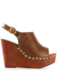 Sandalias con cuña de cuero marrónes de Jeffrey Campbell