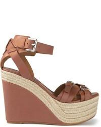 Sandalias con cuña de cuero marrónes de Ralph Lauren