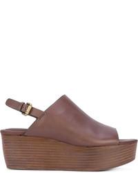 Sandalias con cuña de cuero marrónes de See by Chloe
