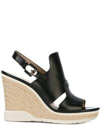Sandalias con cuña de cuero negras de CK Calvin Klein