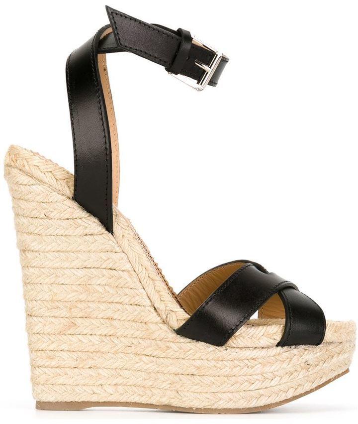 Sandalias con cuña de cuero negras de Dsquared2