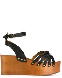 Sandalias con cuña de cuero negras de Etoile Isabel Marant