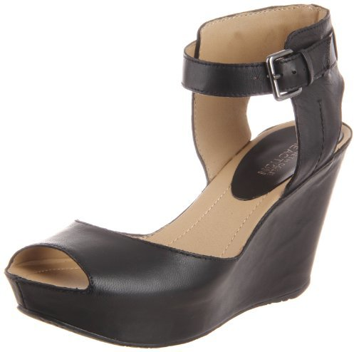 Sandalias con Cuña de Cuero Negras de Kenneth Cole Reaction