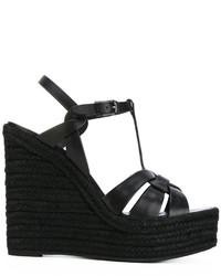 Sandalias con cuña de cuero negras de Saint Laurent