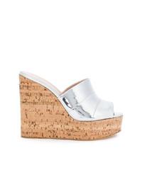 Sandalias con cuña de cuero plateadas de Giuseppe Zanotti Design