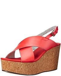 Sandalias con cuña de cuero rojas de Michael Antonio