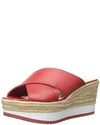 Sandalias con cuña de cuero rojas de Ralph Lauren