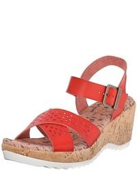 Sandalias con cuña de cuero rojas de Skechers Cali