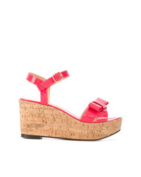 Sandalias con cuña de cuero rosa de Tila March