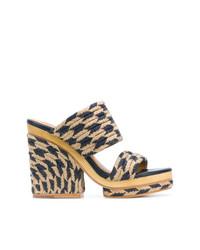 Sandalias con cuña de lona de rayas horizontales marrón claro de Tory Burch