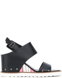 Sandalias con cuña de rayas horizontales negras de Armani Jeans