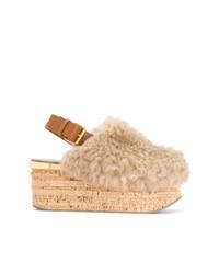 Sandalias con cuña en beige de Chloé