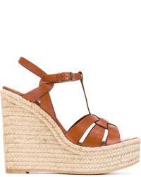 Sandalias con cuña marrón claro de Saint Laurent