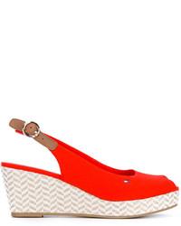 Sandalias con cuña rojas de Tommy Hilfiger