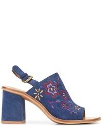 Sandalias de ante bordadas azules de See by Chloe